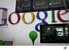 Google logo on bus