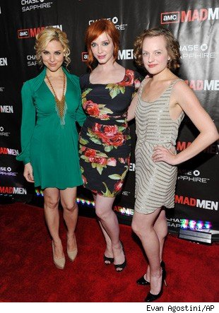 Cara Buono, Elisabeth Moss and Christina Hendricks attend the 'Mad Men' Season 4 Finale screening,