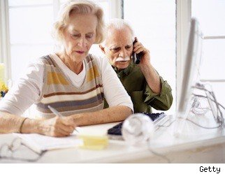 old woman and man working in retirement