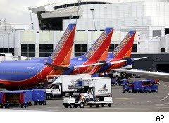 Southwest Airlines planes at the airport