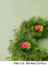 Homemade table wreaths help create debt-free holiday decorations