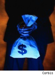 a dark photo of a banker holding a bag of cash how to not get ripped off at a bank