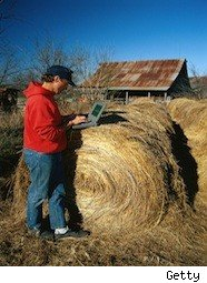 man checks his laptop on a haystack