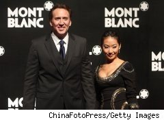 Nic Cage and his wif, Alice Kim, at a Montblanc event in China