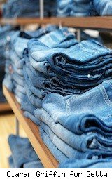 a stack of blue jeans at the store - students can stock up on Black Friday deals