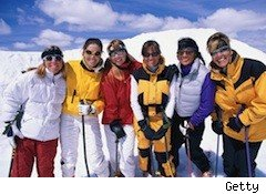 a happy group of skiers