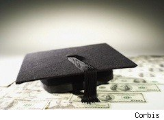Mortar board on top of cash - student loan debt
