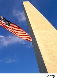 American flag and the Washington Monument