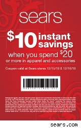 Sears coupon for 10% off