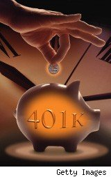 Piggy bank marked 401K