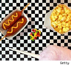 Corn dog, popcorn, candy, cotton candy risky food dyes