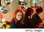 young lady in a hair salon - how much to tip