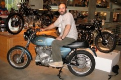 Matthew Biberman wrote Big Sid's Vincati, a book about the motorcycle he built with his dad, pictured here.
