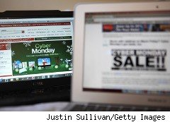 Computers display oinline shopping sites