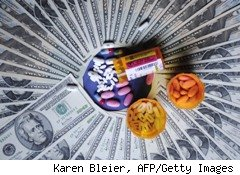 photo illustration of prescription pills and money - retirement health care