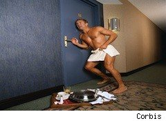 man in a towel tries to get into his locked hotel room - hotels and fees