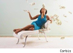 lady throwing money - money myths finances