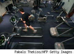 Man on treadmill at a fitness center