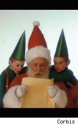 santa checkes a list while elves gawp over shoulder - share holiday wishlists