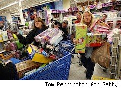 women frantically shop -- holiday savings
