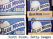 Blue Moon beer is offered for sale at Sam's Wines and Spirits