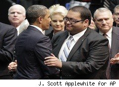 obama hugs intern Daniel Hernandez - state of the union