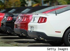 Ford Mustangs on dealer lot
