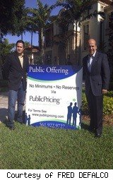 two men with public offering sign