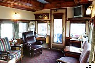 The interior of a Pullman Railroad car