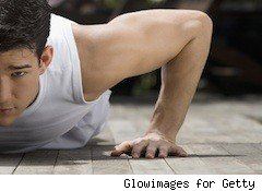 man does push-up - cheap exercise