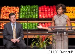 Walmart President and CEO Bill Simon and First Lady Michelle Obama announce Walmart initiative on healthy foods