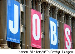 JOBS sign outside a building