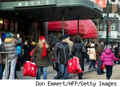 Shoppers outside Macy's
