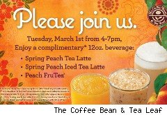 The Coffee Bean % Tea Leaf coupon for free peach tea