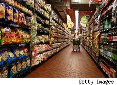 Food aisle in grocery store