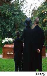 a family mourns at a funeral - estate planning