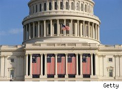 U.S. Capitol building with American flags