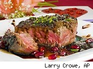 filet mignon with pomegranate-burgundy sauce - valentine's day on a budget