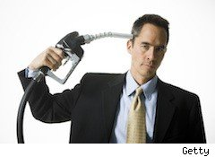man with gas pump to his head - gas urban legends