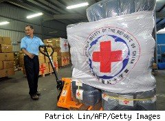 Red Cross supplies being shipped to Japan for earthquke relief