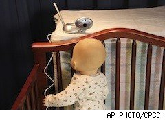 doll in crib, baby monitor