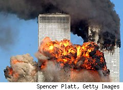 Twin towers burning photography