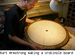 Kurt Armstrong making a crokinole board
