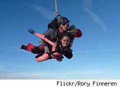 forget the fruitcake, giving skydiving lessons