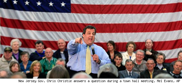 New Jersey Gov. Chris Christie answers a question during a town hall meeting.