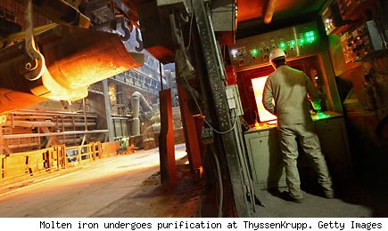 Molten iron undergoes purification at ThyssenKrupp.