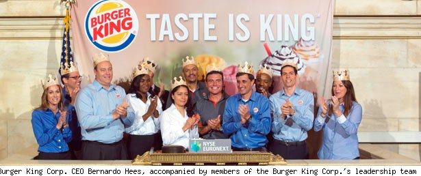 Burger King Corp. CEO Bernardo Hees, accompanied by members of the Burger King Corp.'s leadership team