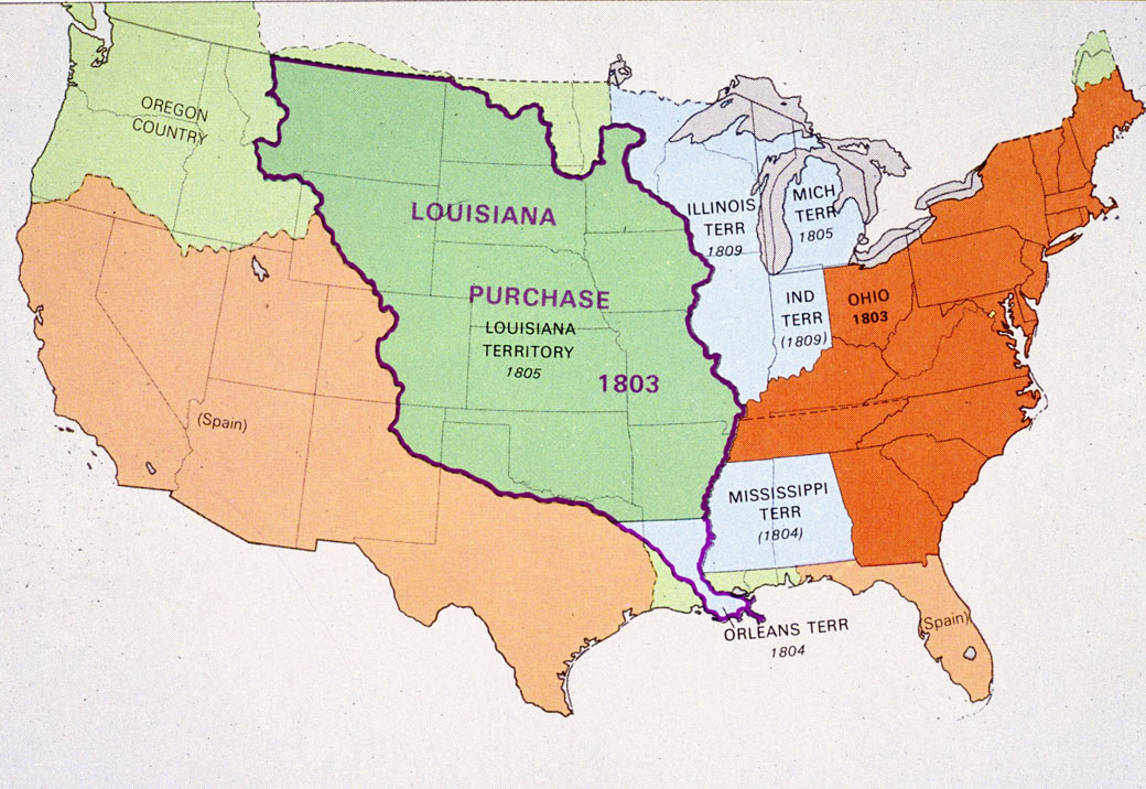 map showing louisiana purchase