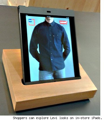Shoppers can explore Levi looks on in-store iPads.