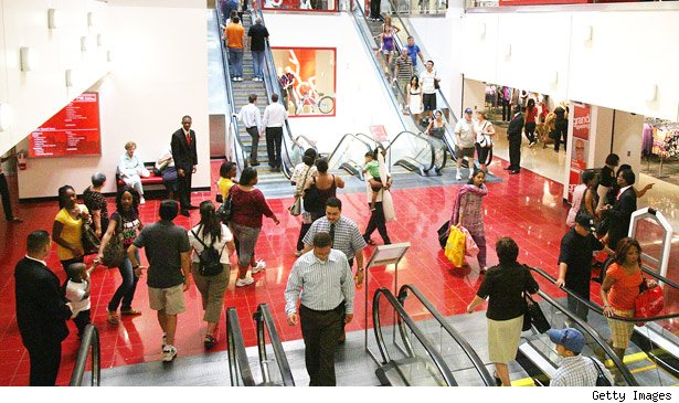 shoppers in a mall